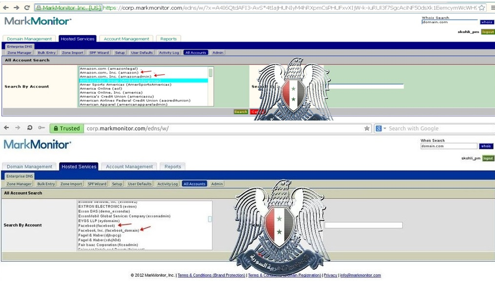 A screenshot shows Syrian Electronic Army has access to MarkMonitor admin panel