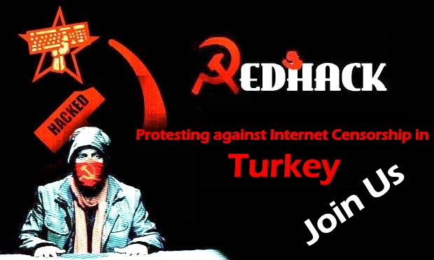 RedHack hactivist Joins hands with activists for a protest against Internet Censorship in Turkey