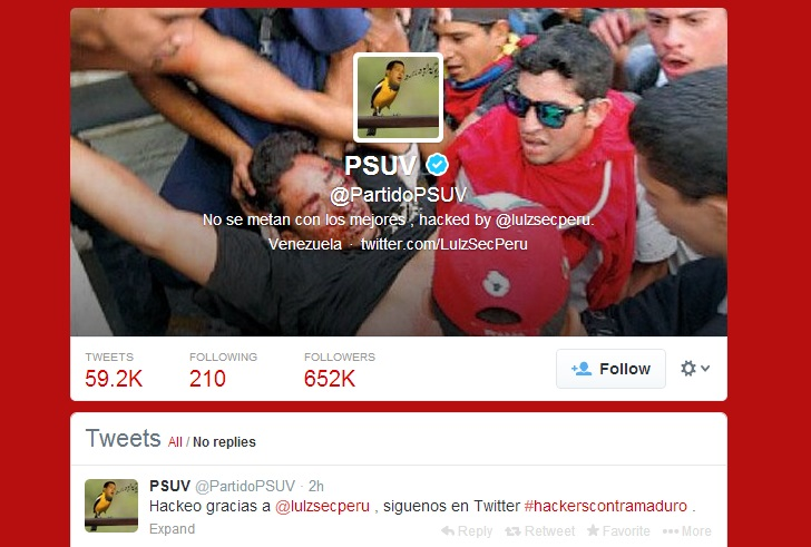 LulzSec Peru hacks Twitter account of Venezuela's Ruling Party against Twitter Cencorship
