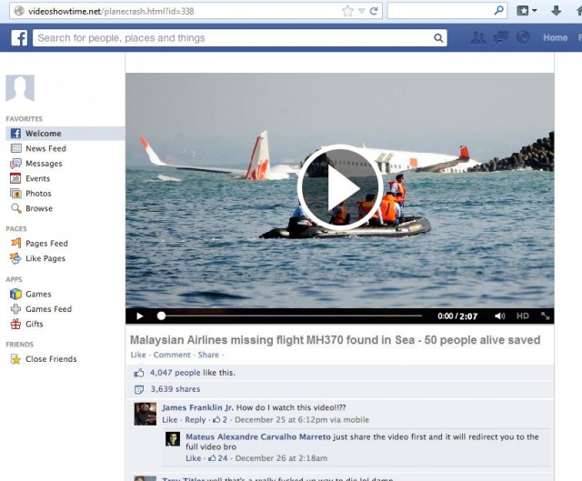 This is how the fake video scam link look on Facebook