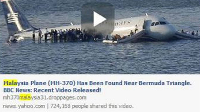 Scam Alert: Missing Malaysia Jet found in Bermuda Triangle Viral Facebook links are Malicious
