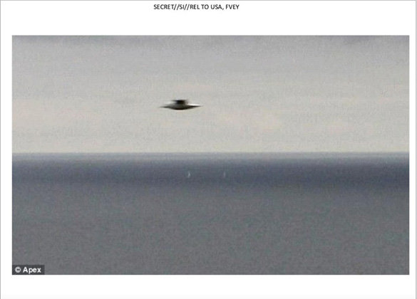 A document among the trove leaked by Edward Snowden contains slides showing images of flying saucer