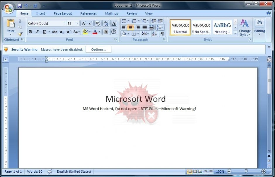 Microsoft Warning: MS Word Has Been Hacked, Do not open '.RTF' Files