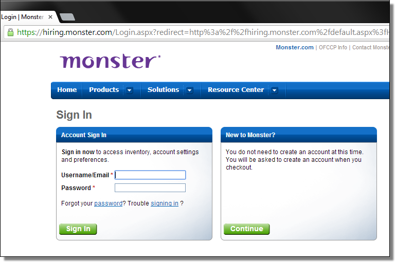 Real page of hiring.monster.com. Image Credit: F-Secure.com