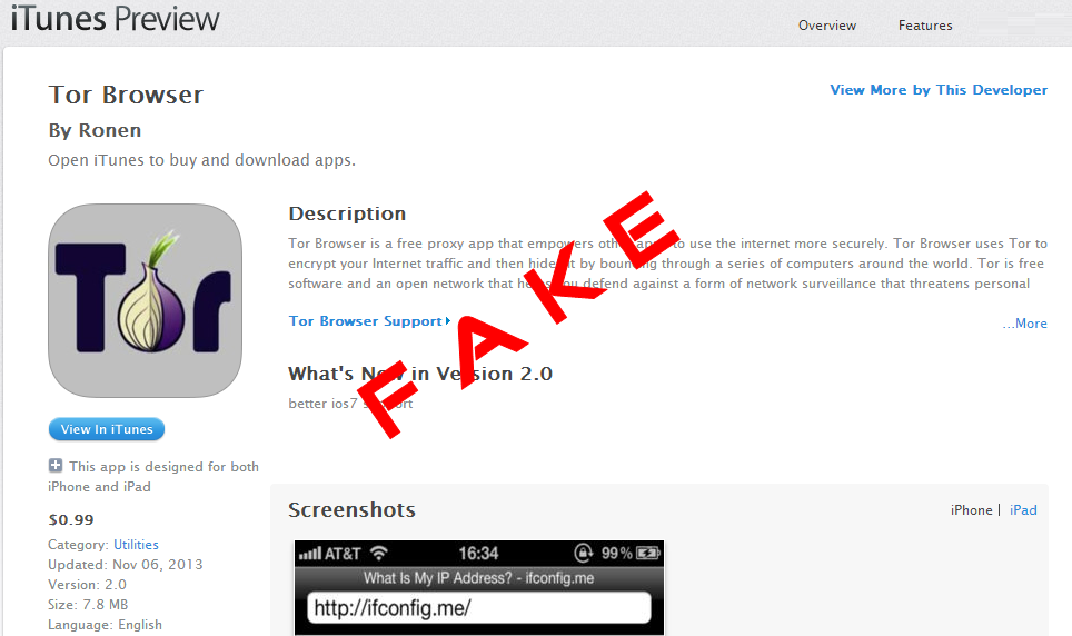Alert: Tor Browser app in the Apple Store is fake, spreading