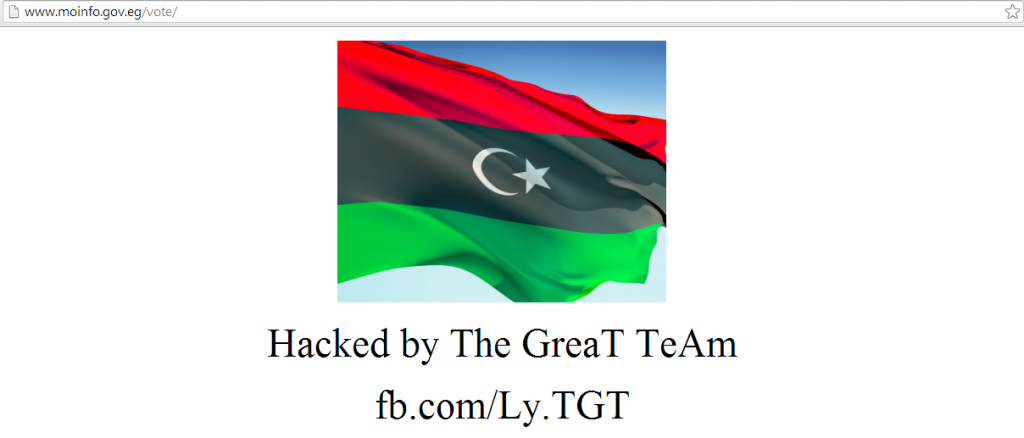 Deface page left by the hackers