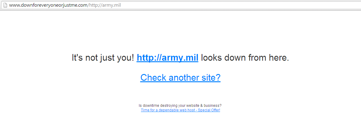 Army.mil domain was down after DDoS attack