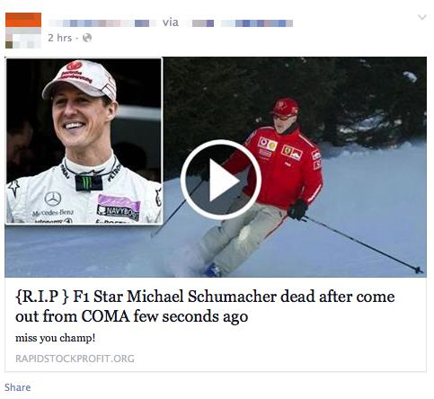 Latest Facebook Scam F1 Star Michael Schumacher Dead  �