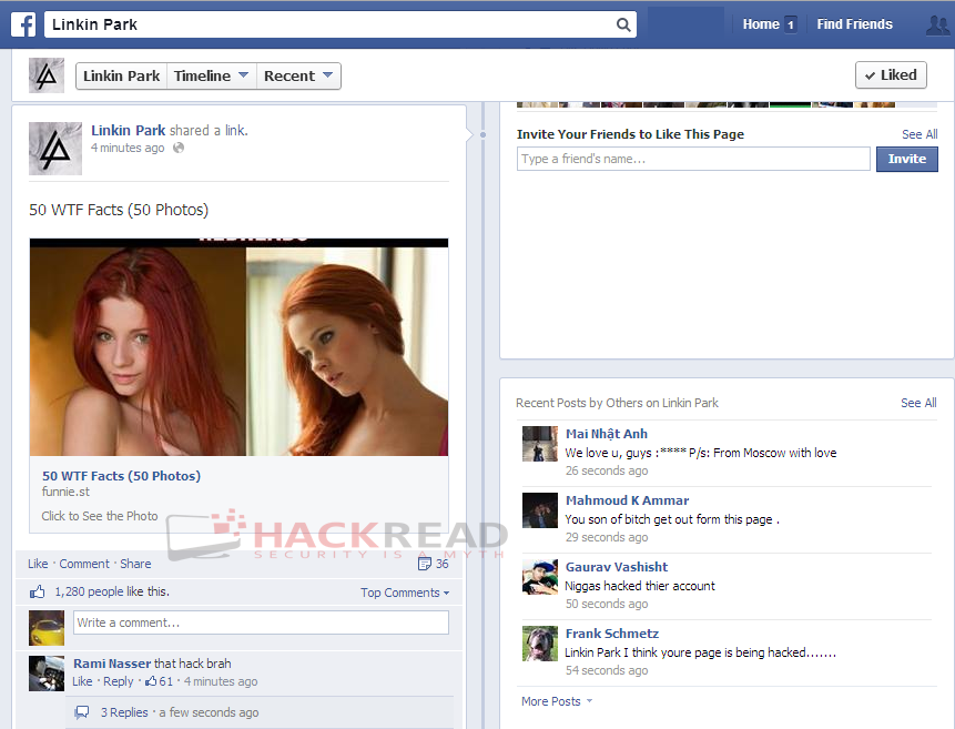 linkin-park-official-facebook-page-hacked-spammed-with-adverts-4