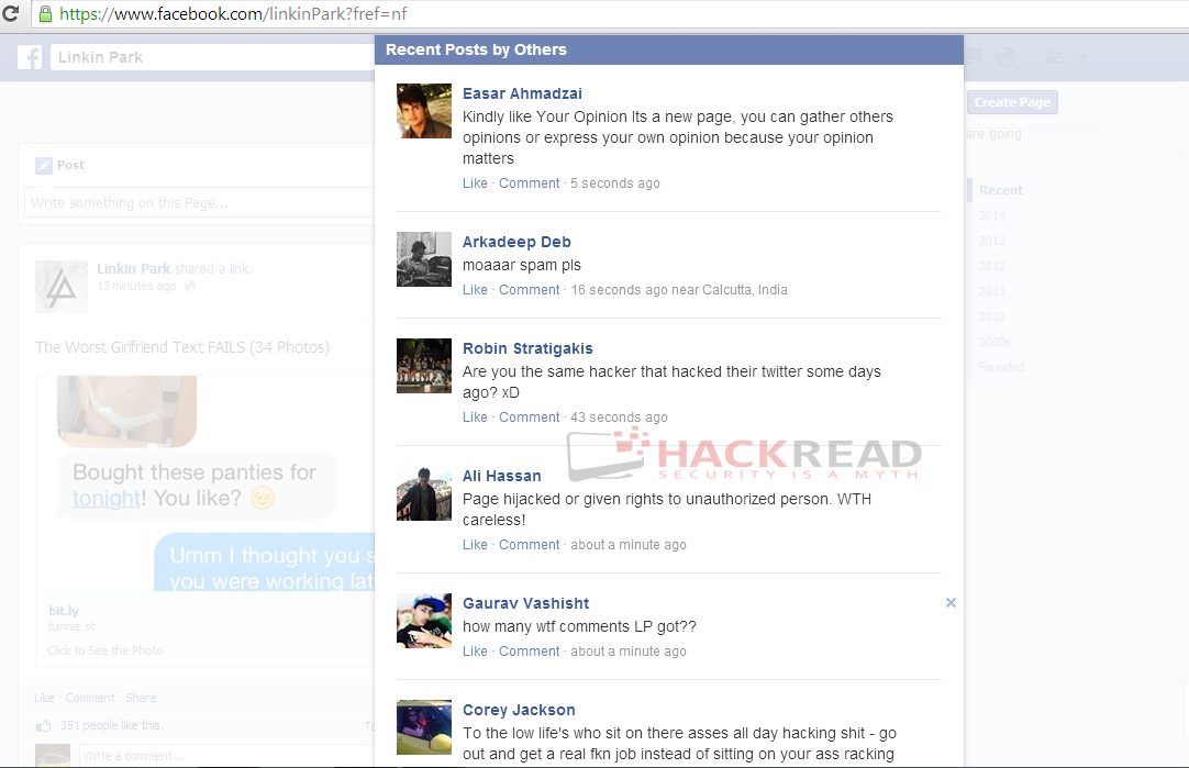linkin-park-official-facebook-page-hacked-spammed-with-adverts-5