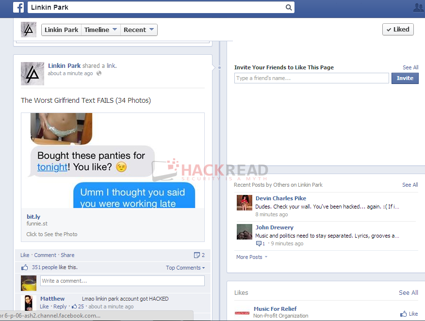 Exclusive: Linkin Park official Facebook Page Hacked