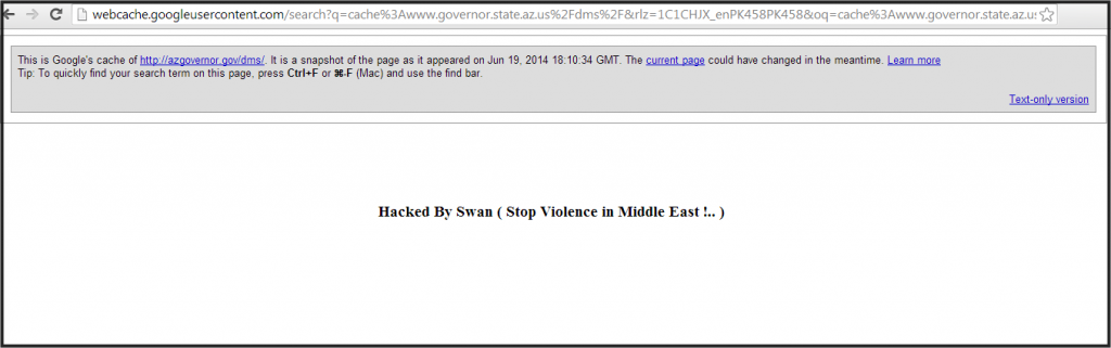 Deface page left by Turkish hacker Swan