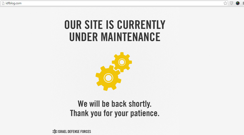 Under maintenance message displaying on IDF blog.