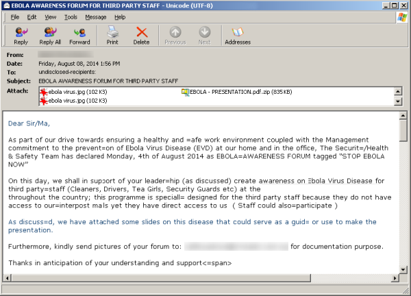 Hackers Sending Fake Ebola Virus reports in emails with