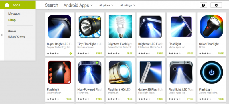 """Screenshot of """"flashlight app"""" that are stealing your personal information."""