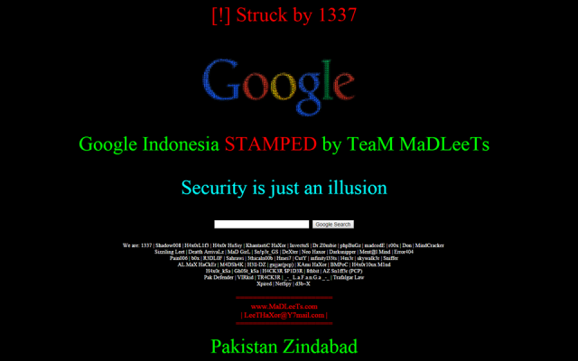 A screenshot of Deface page left by the hackers