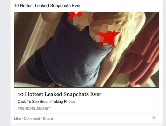 Do not click 'Hottest Leaked Snapchats' links on Facebook