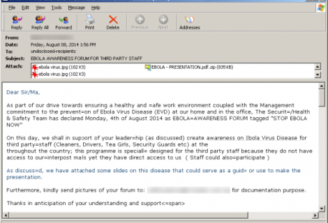 Hackers Sending Fake Ebola Virus reports in emails with Malware and Phishing Links