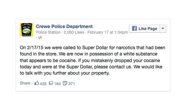 Police use Facebook to find person who dropped bag of cocaine