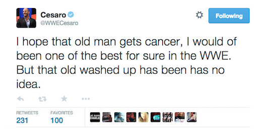WWE Superstar Antonio Cesaro' Twitter account hacked, 'wish cancer' on McMahon