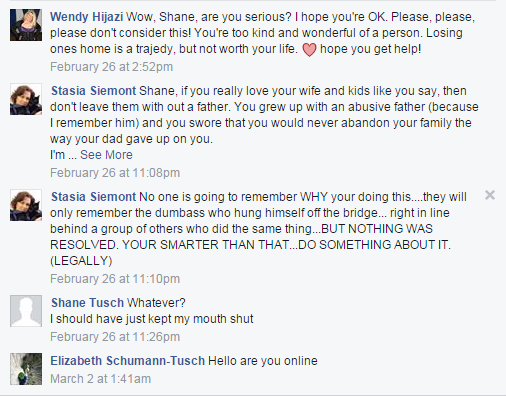 Tusch's friends commenting on his suicidal post on Facebook.