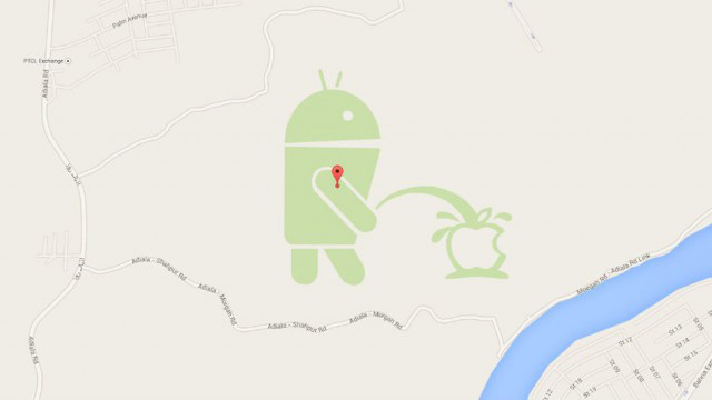 Google Maps Shows Android Is Peeing on an Apple in Pakistan