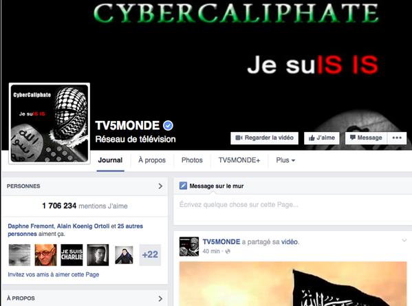French TV Station broadcast, website, Facebook hacked by pro-ISIS