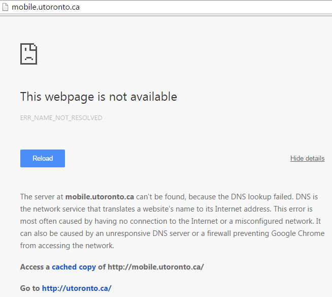 A screenshot shows the University of Toronto's mobile site is down after the cyber attack