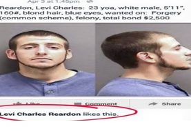 Thug arrested after liking his own 'Mugshot Wanted' pic on Facebook