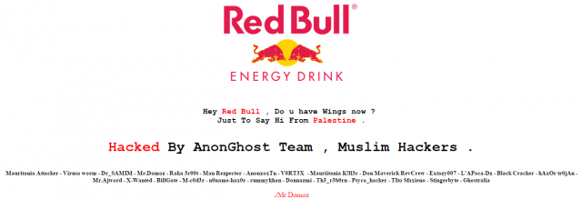 Red Bull Malaysia Website Hacked by Pro-Palestinian Hackers