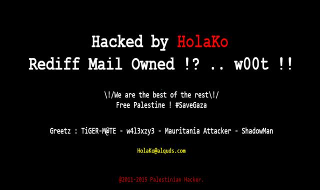 Famous online Indian portal 'Rediff' Hacked by Palestinian Hacker