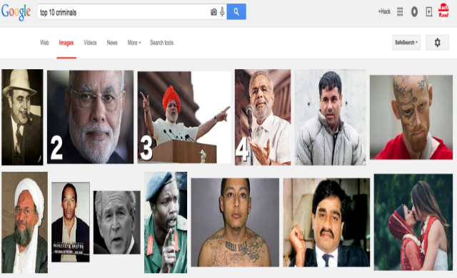 Indian PM Modi is in the list of 'Top 10 Criminals' on Google Image Search