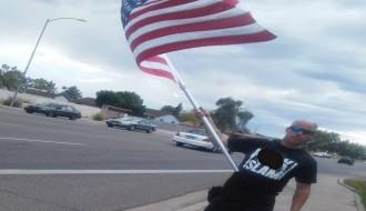 Ritzheimer during draw Prophet Muhammad cartoon contest rally in Arizona