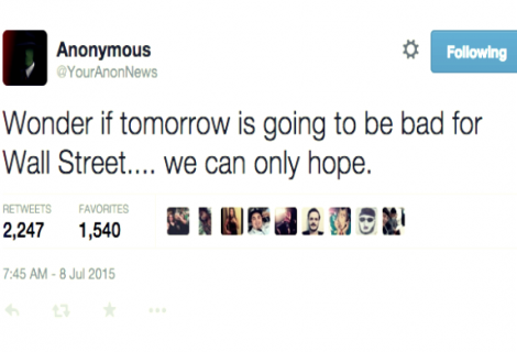 Was Anonymous Behind NYSE Glitch? They predicted it a Day Before