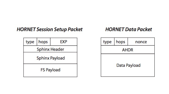 Block diagrams of HORNET's two packet types. Chen et al