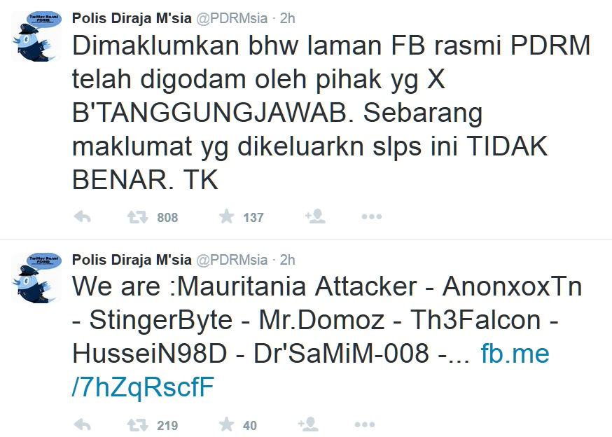 Screenshot taken from Malaysian Police Twotter account at the time when it was hacked