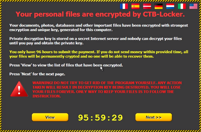 CTB-Locker Ransomware Message