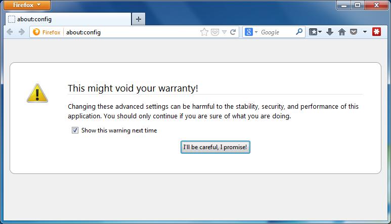 Disable Battery API Firefox - Step 1