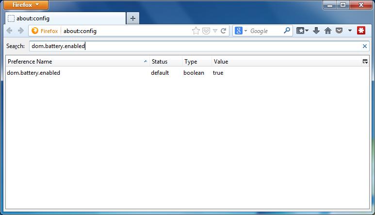 Disable Battery API Firefox - Step 2