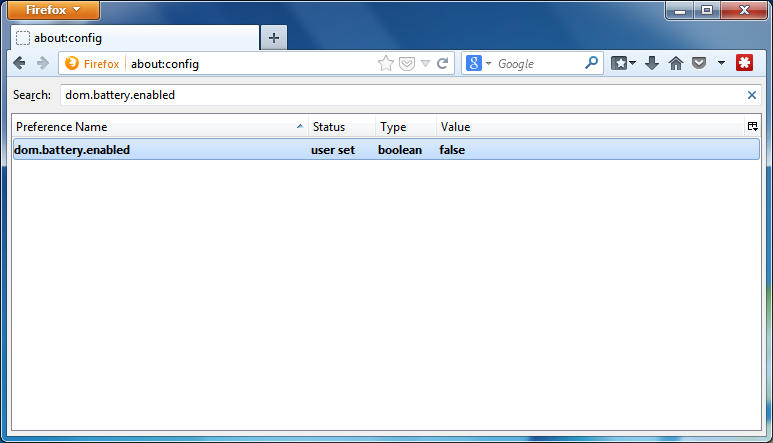 Disable Battery API Firefox - Step 4
