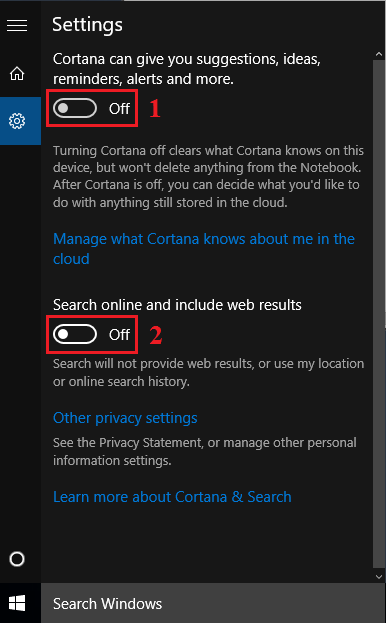 Disable Cortana and Bing Search Windows 10