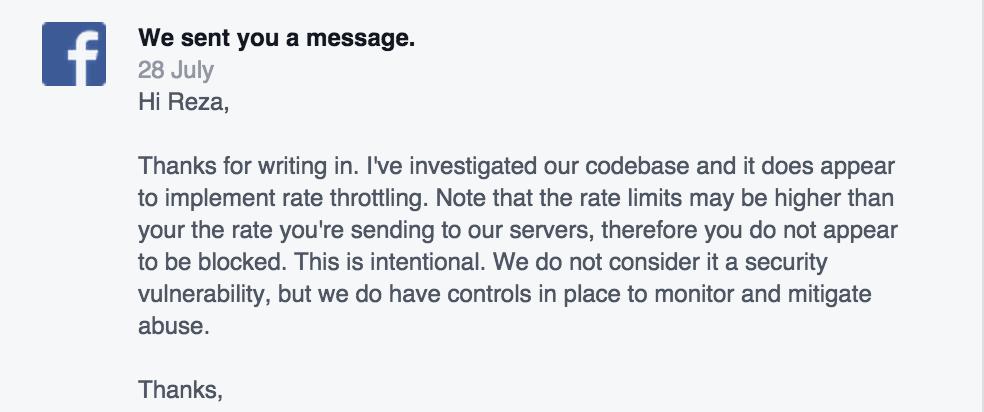 Facebook API Vulnerability Second Response
