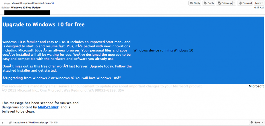 Microsoft Windows 10 Upgrade Spoofed Email Message