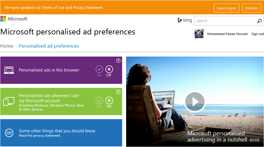 Opt Out of Microsoft Ad Preferences