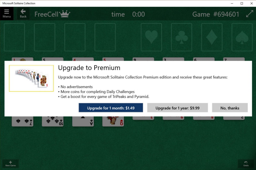 Solitaire-paid-windows-10-is-free-but-microsoft-is-charging-for-add-onsother-features