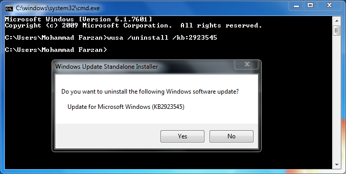 Uninstall Windows Update - Step #4