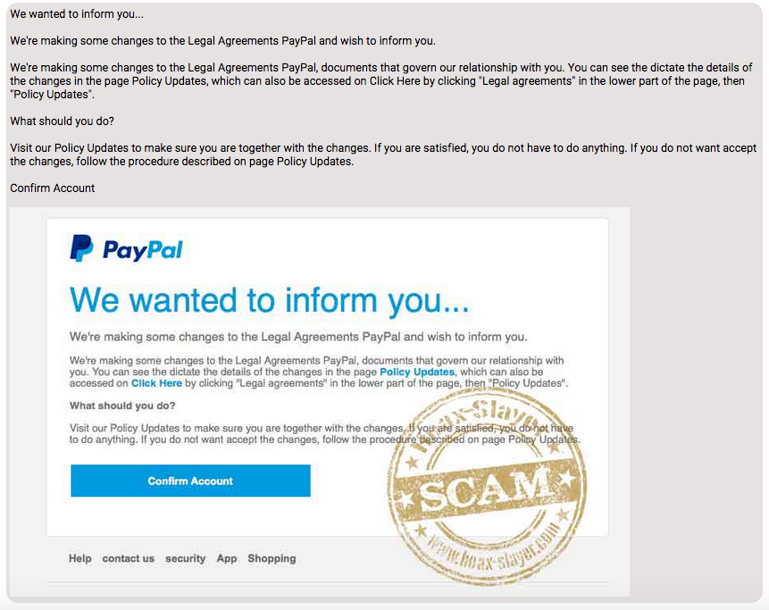 Phishing Scam | Hackers are targeting PayPal users with ''Changes to legal Agreements'' Phishing Scam.