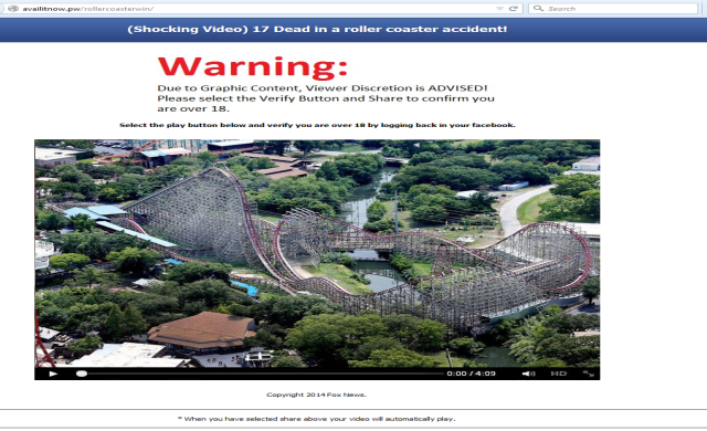 Facebook Phishing Scam, '17 dead in a roller coaster accident'