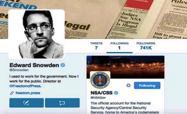 Edward Snowden Joins Twitter, Stays Classy, Follows the NSA