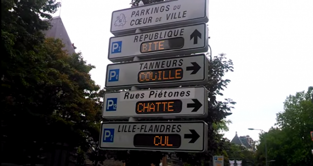Hacker Puts Crude Poem on Hacked Electronic Signpost in France